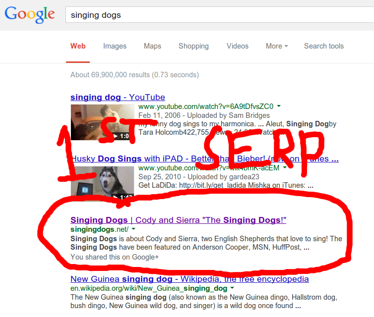 singing dogs serp